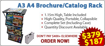 A3 Brochure/Leaflet/Literature Holders/Stands/Display/Racks/Concertina